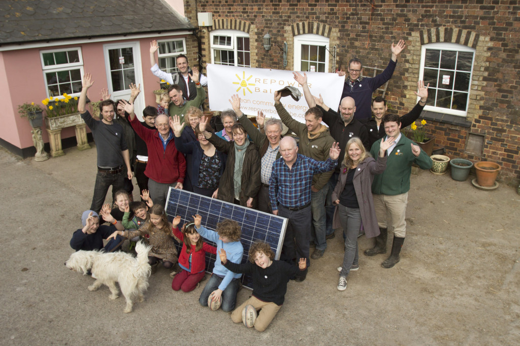 Group shot of the founder members of REPOWERBalcombe, at their first host site, Grange Farm